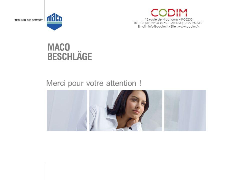 12 route de Niachamp – F-88250 T é l. +33 (0)3 29 25 49 59 - Fax +33 (0)3 29 25 63 21 Email : info@codim.fr - Site : www.codim.fr Merci pour votre att