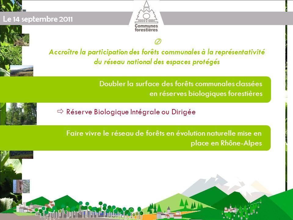 Le 14 septembre 2011 Accroître la participation des forêts communales à la représentativité du réseau national des espaces protégés Doubler la surface des forêts communales classées en réserves biologiques forestières Faire vivre le réseau de forêts en évolution naturelle mise en place en Rhône-Alpes Réserve Biologique Intégrale ou Dirigée