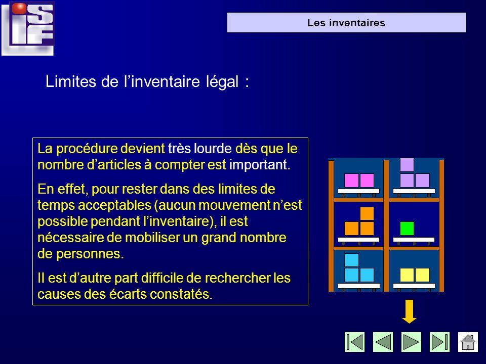 Les inventaires 1- linventaire légal: La loi française impose aux entreprises deffectuer un inventaire complet de tous les articles une fois par an, p