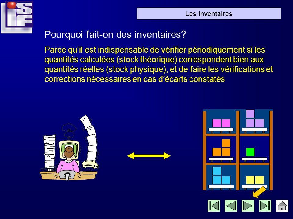 inventaire = comptage systématique des articles en stock, afin de vérifier si la quantité physique dans les emplacements correspond au stock théorique