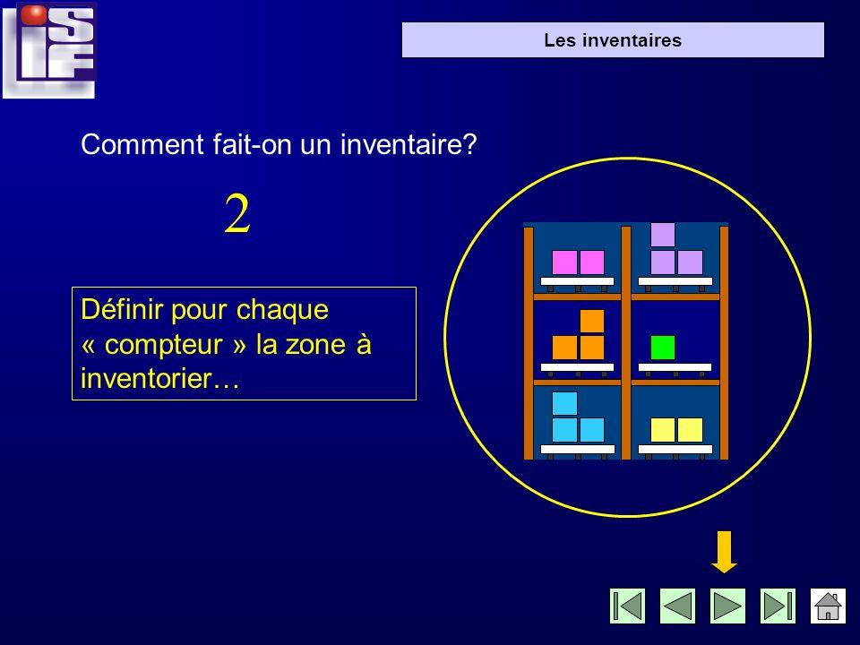 Les inventaires Définir pour chaque « compteur » la zone à inventorier… Comment fait-on un inventaire.