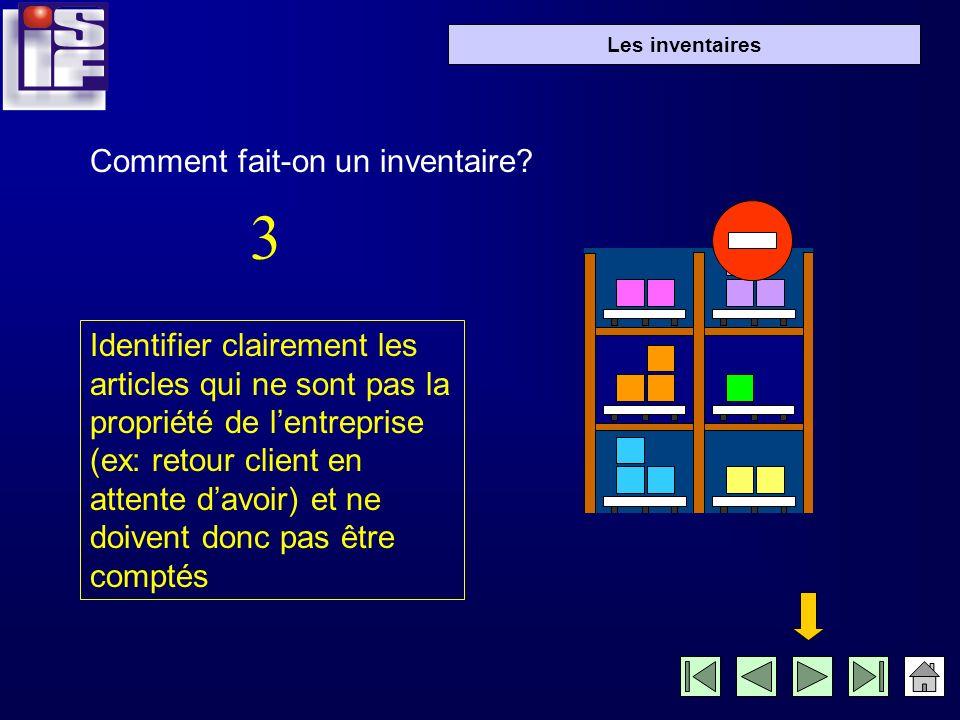 Les inventaires 1- linventaire légal: La loi française impose aux entreprises deffectuer un inventaire complet de tous les articles une fois par an, pour intégrer la valeur du stock dans le bilan (rubrique actif).