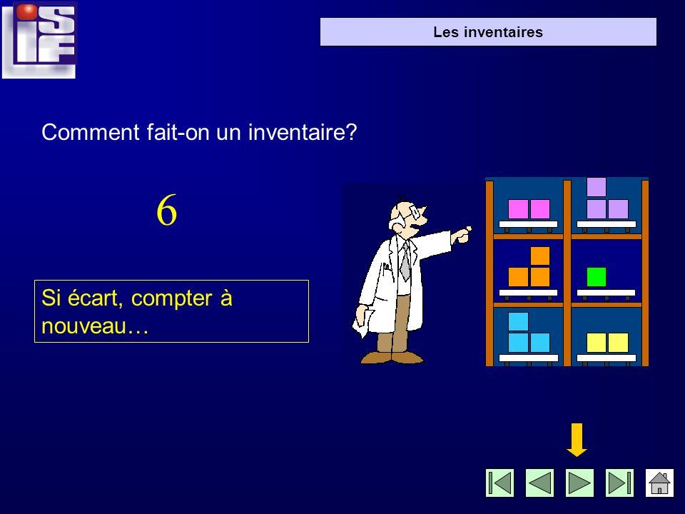 Les inventaires Si écart, compter à nouveau… Comment fait-on un inventaire? 6