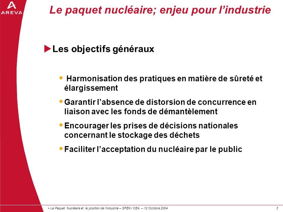 > Le Paquet Nucléaire et la position de lIndustrie – SFEN / CEA – 12 Octobre 200433 Le paquet nucléaire; enjeu pour lindustrie Les objectifs généraux