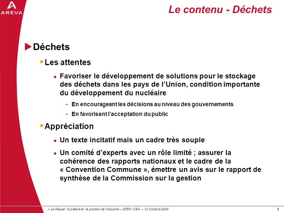 > Le Paquet Nucléaire et la position de lIndustrie – SFEN / CEA – 12 Octobre 200466 Le contenu - Déchets Déchets Les attentes Favoriser le développeme