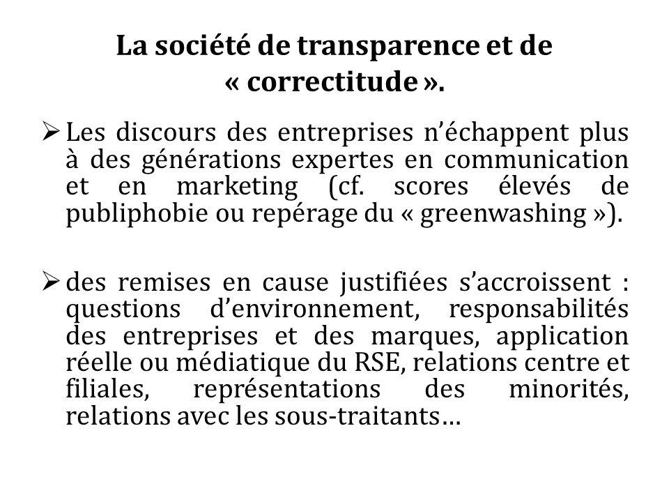 La société de transparence et de « correctitude ». Les discours des entreprises néchappent plus à des générations expertes en communication et en mark