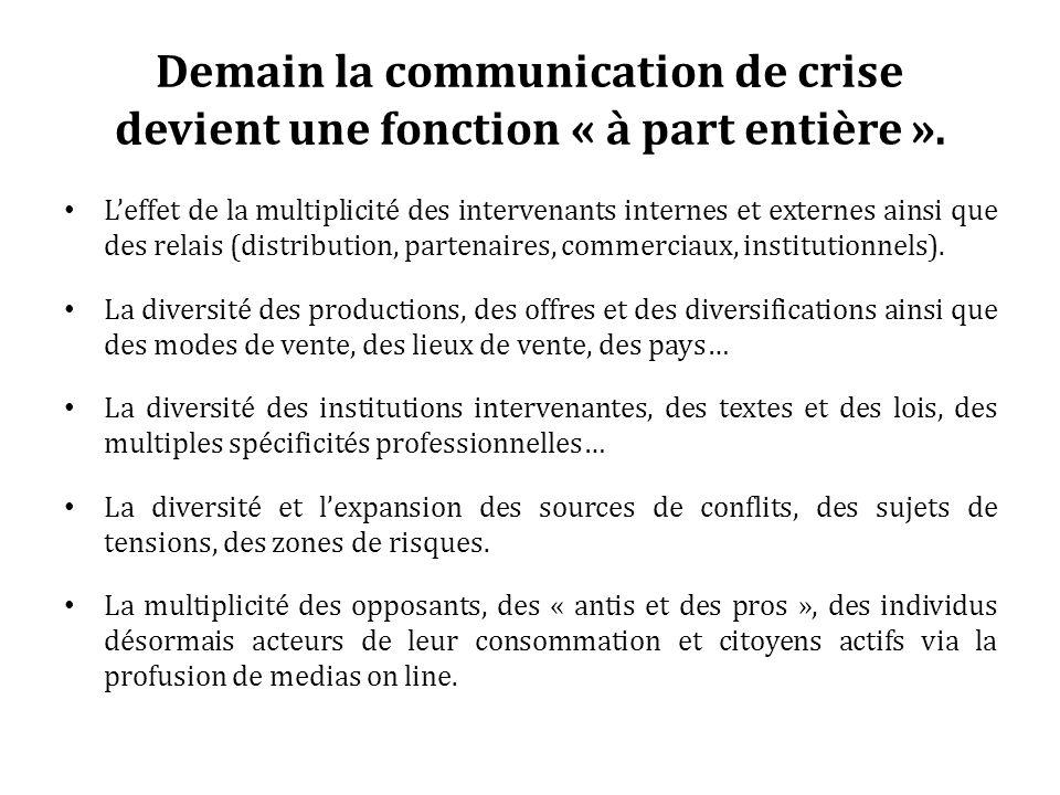 Demain la communication de crise devient une fonction « à part entière ». Leffet de la multiplicité des intervenants internes et externes ainsi que de