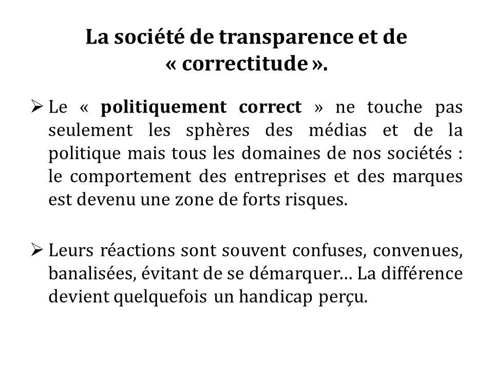 La société de transparence et de « correctitude ». Le « politiquement correct » ne touche pas seulement les sphères des médias et de la politique mais
