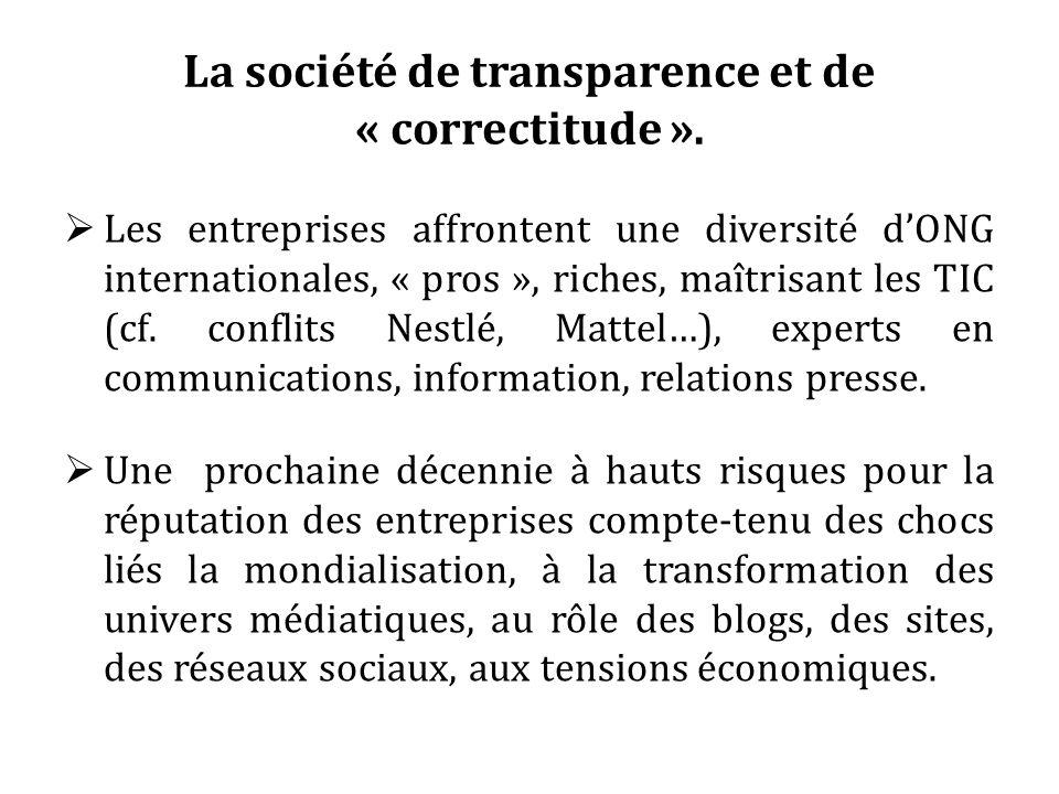 La société de transparence et de « correctitude ». Les entreprises affrontent une diversité dONG internationales, « pros », riches, maîtrisant les TIC