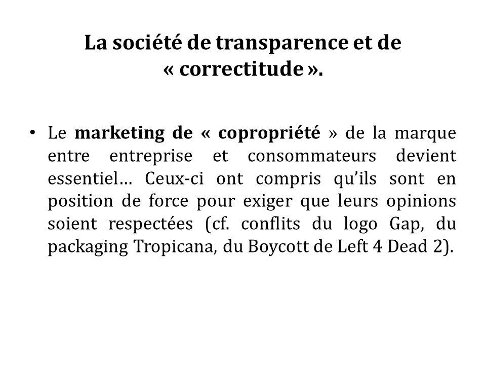 La société de transparence et de « correctitude ». Le marketing de « copropriété » de la marque entre entreprise et consommateurs devient essentiel… C