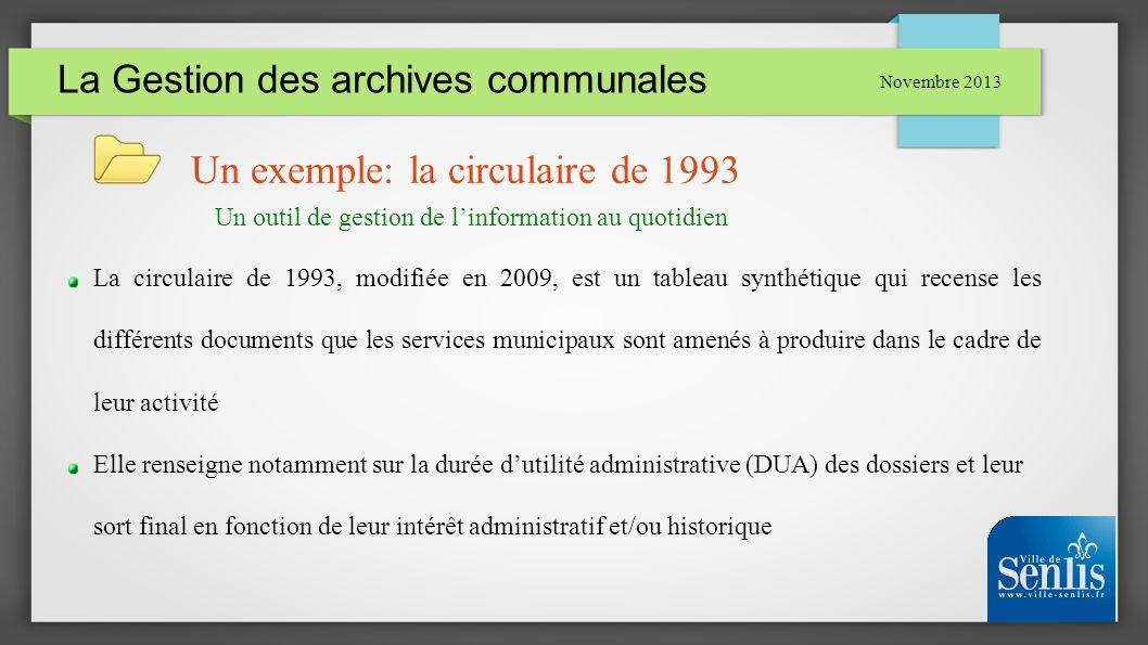 La Gestion des archives communales Novembre 2013 Un exemple: la circulaire de 1993 La circulaire de 1993, modifiée en 2009, est un tableau synthétique