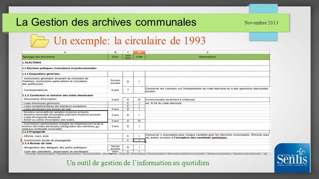 La Gestion des archives communales Novembre 2013 Un exemple: la circulaire de 1993 Un outil de gestion de linformation au quotidien