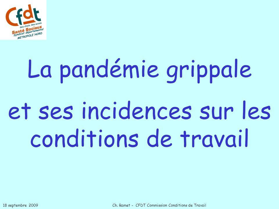La pandémie grippale et ses incidences sur les conditions de travail 18 septembre 2009 Ch. Ramet - CFDT Commission Conditions de Travail