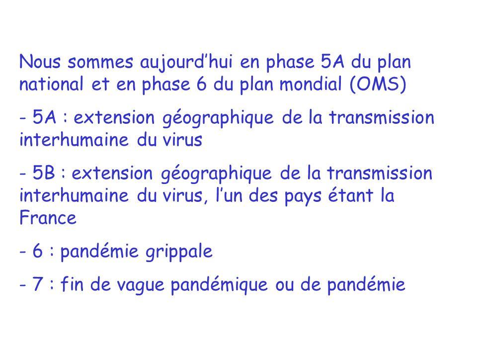 Nous sommes aujourdhui en phase 5A du plan national et en phase 6 du plan mondial (OMS) - 5A : extension géographique de la transmission interhumaine du virus - 5B : extension géographique de la transmission interhumaine du virus, lun des pays étant la France - 6 : pandémie grippale - 7 : fin de vague pandémique ou de pandémie