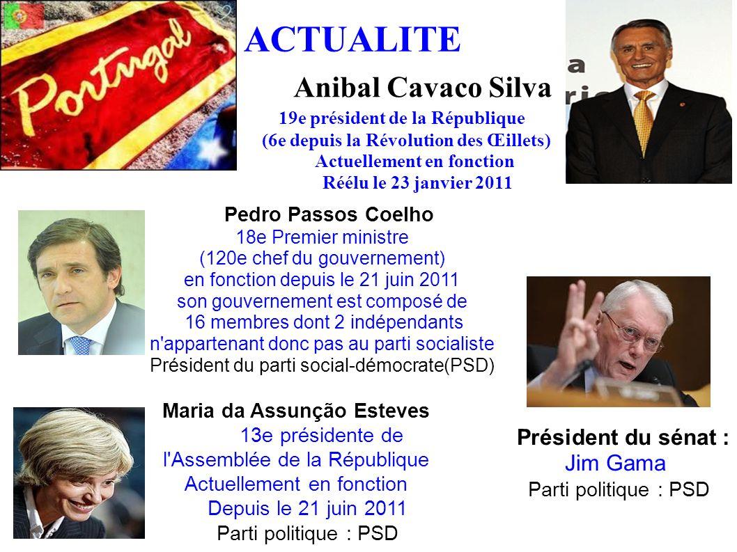 ACTUALITE Anibal Cavaco Silva 19e président de la République (6e depuis la Révolution des Œillets) Actuellement en fonction Réélu le 23 janvier 2011 P