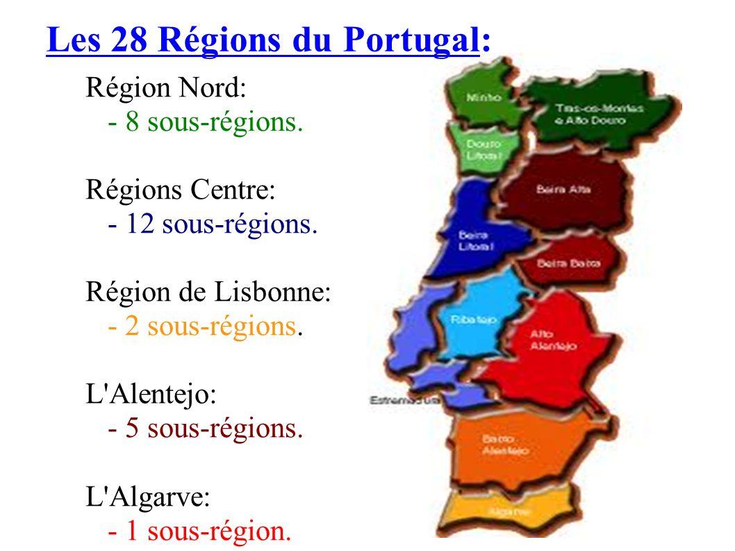 Les 28 Régions du Portugal: Région Nord: - 8 sous-régions. Régions Centre: - 12 sous-régions. Région de Lisbonne: - 2 sous-régions. L'Alentejo: - 5 so
