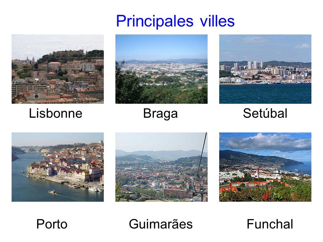 Principales villes Lisbonne Braga Setúbal Porto Guimarães Funchal