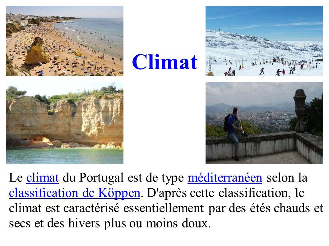 Le climat du Portugal est de type méditerranéen selon la classification de Köppen. D'après cette classification, le climat est caractérisé essentielle