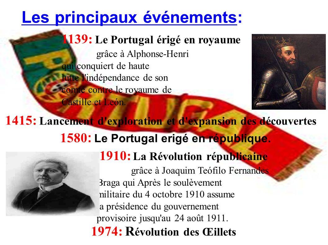 1139: Le Portugal érigé en royaume grâce à Alphonse-Henri qui conquiert de haute lutte l'indépendance de son comté contre le royaume de Castille et Le