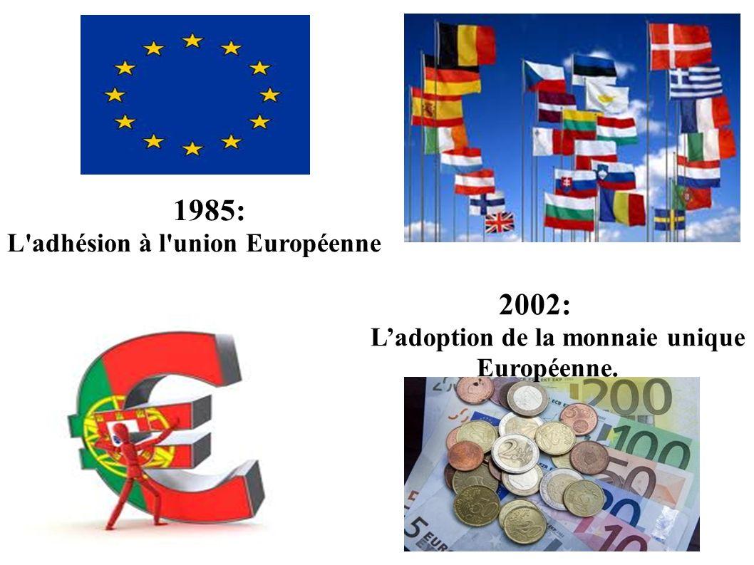 1985: L'adhésion à l'union Européenne 2002: Ladoption de la monnaie unique Européenne.