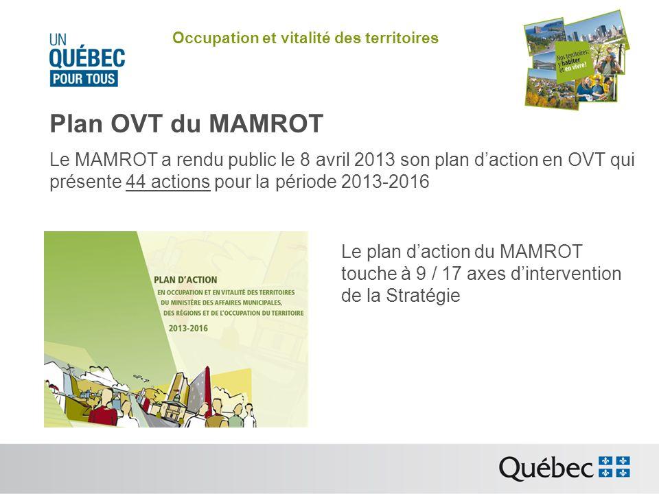 Occupation et vitalité des territoires Plan OVT du MAMROT Le MAMROT a rendu public le 8 avril 2013 son plan daction en OVT qui présente 44 actions pour la période 2013-2016 Le plan daction du MAMROT touche à 9 / 17 axes dintervention de la Stratégie