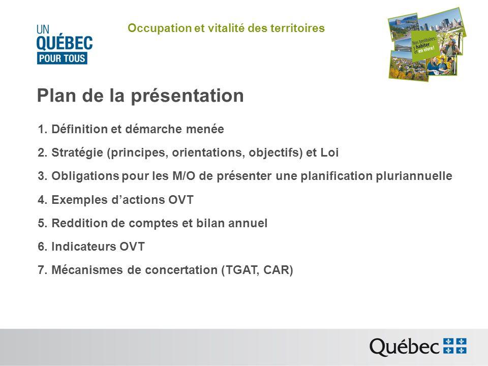 Occupation et vitalité des territoires Mécanisme de concertation : TQQMAD et TQMMAD Les deux tables (pour Montréal et Québec) pour laménagement et le développement ont pour mandat de favoriser la concertation pour assurer lefficience de laction publique en vue du développement durable de leur région (art.