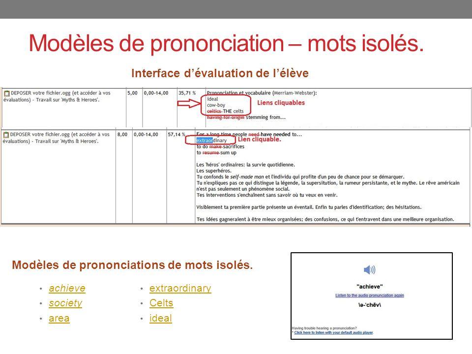 Modèles de prononciation – mots isolés.