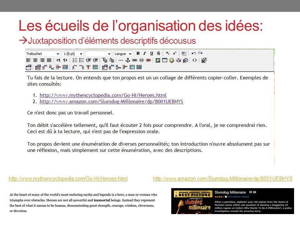 Les écueils de lorganisation des idées: Juxtaposition déléments descriptifs décousus http://www.mythencyclopedia.com/Go-Hi/Heroes.html http://www.amazon.com/Slumdog-Millionaire/dp/B001UEBHYS