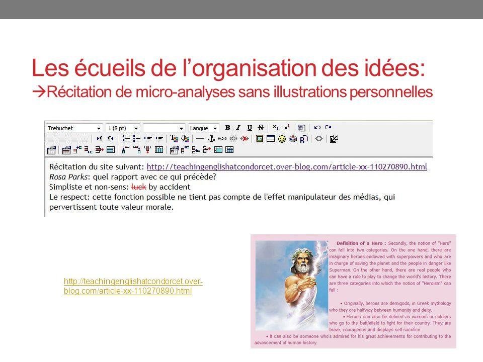 Les écueils de lorganisation des idées: Récitation de micro-analyses sans illustrations personnelles http://teachingenglishatcondorcet.over- blog.com/article-xx-110270890.html