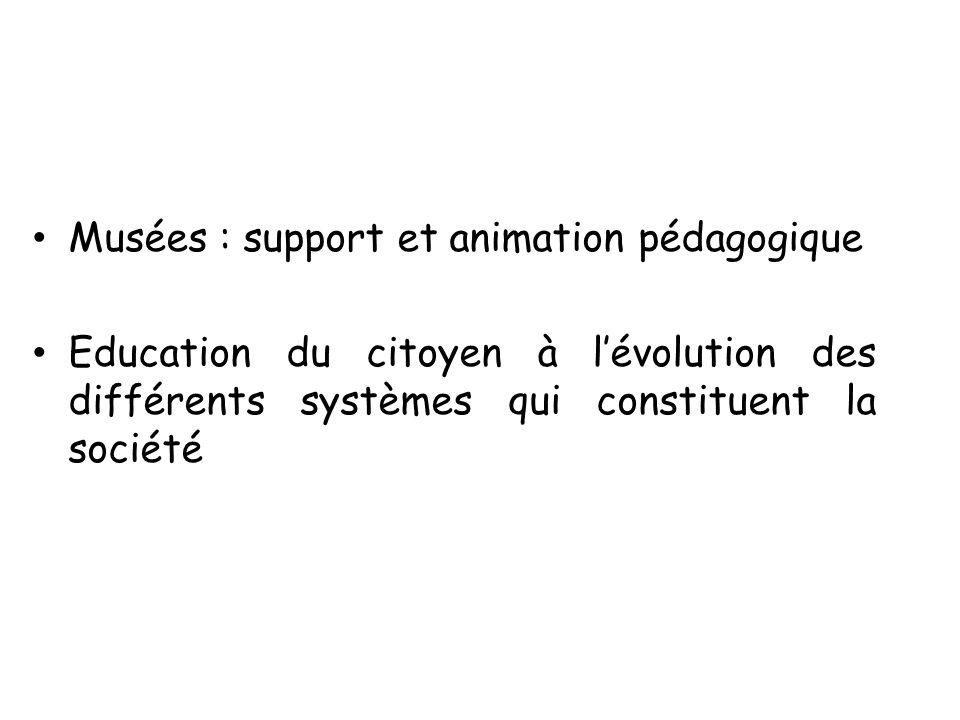Musées : support et animation pédagogique Education du citoyen à lévolution des différents systèmes qui constituent la société