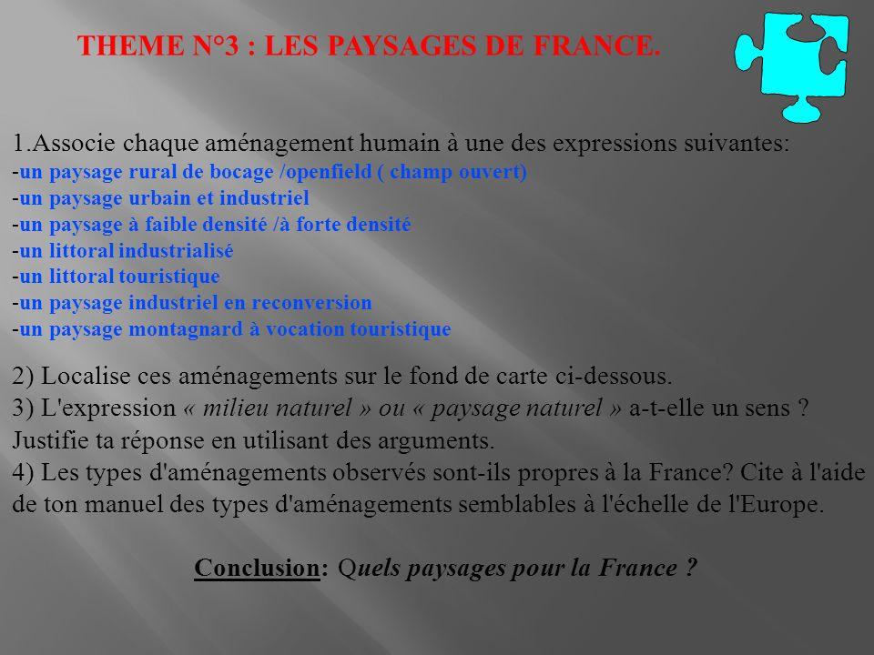 THEME N°3 : LES PAYSAGES DE FRANCE. 1.Associe chaque aménagement humain à une des expressions suivantes: -un paysage rural de bocage /openfield ( cham