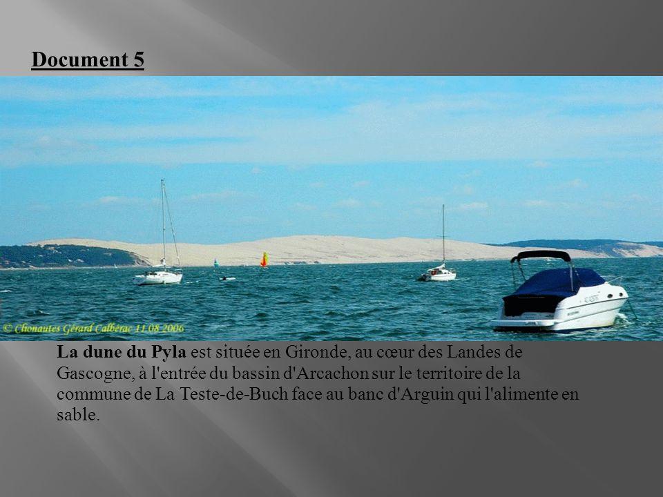 La dune du Pyla est située en Gironde, au cœur des Landes de Gascogne, à l'entrée du bassin d'Arcachon sur le territoire de la commune de La Teste-de-