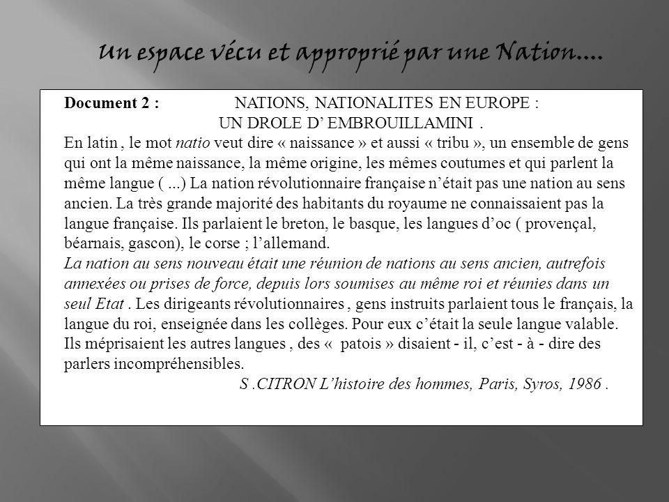 Un espace vécu et approprié par une Nation.... Document 2 : NATIONS, NATIONALITES EN EUROPE : UN DROLE D EMBROUILLAMINI. En latin, le mot natio veut d