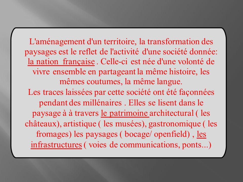 L'aménagement d'un territoire, la transformation des paysages est le reflet de l'activité d'une société donnée: la nation française. Celle-ci est née