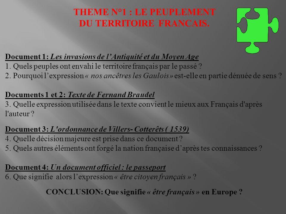 THEME N°1 : LE PEUPLEMENT DU TERRITOIRE FRANCAIS. Document 1: Les invasions de lAntiquité et du Moyen Age 1. Quels peuples ont envahi le territoire fr
