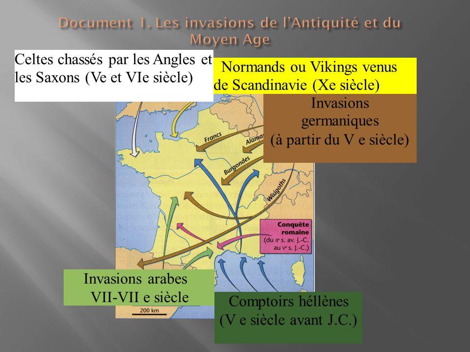 Invasions arabes VII-VII e siècle Comptoirs héllènes (V e siècle avant J.C.) Invasions germaniques (à partir du V e siècle) Celtes chassés par les Ang
