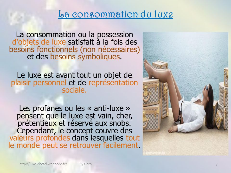 La consommation du luxe La consommation ou la possession dobjets de luxe satisfait à la fois des besoins fonctionnels (non nécessaires) et des besoins symboliques.