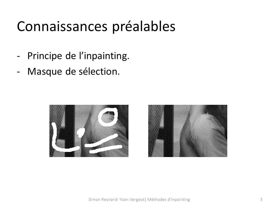Connaissances préalables 4Simon Reynard- Yoan Vergeot| Méthodes d Inpainting -Gradient