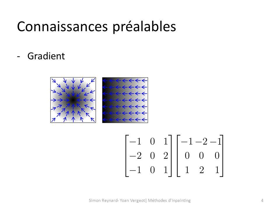 Connaissances préalables 5Simon Reynard- Yoan Vergeot| Méthodes d Inpainting -Laplacien