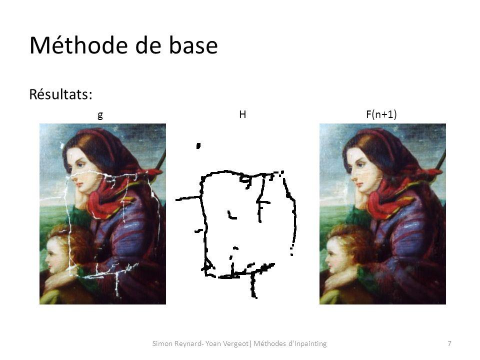 Algorithme de larticle de Bertalmio 8Simon Reynard- Yoan Vergeot| Méthodes d Inpainting Prolongation des lignes isophotes de limage.