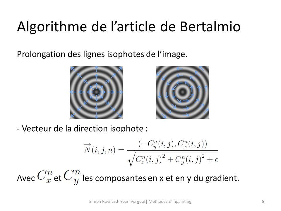 Algorithme de larticle de Bertalmio 9Simon Reynard- Yoan Vergeot| Méthodes d Inpainting - Vecteur variation du Laplacien: - Projection de la variation du Laplacien sur la direction isophote: - Calcul de la norme du gradient: