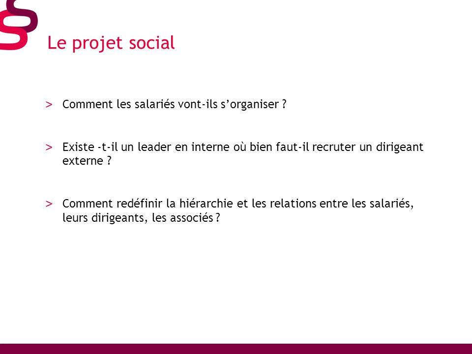 Le projet social > Comment les salariés vont-ils sorganiser ? > Existe -t-il un leader en interne où bien faut-il recruter un dirigeant externe ? > Co