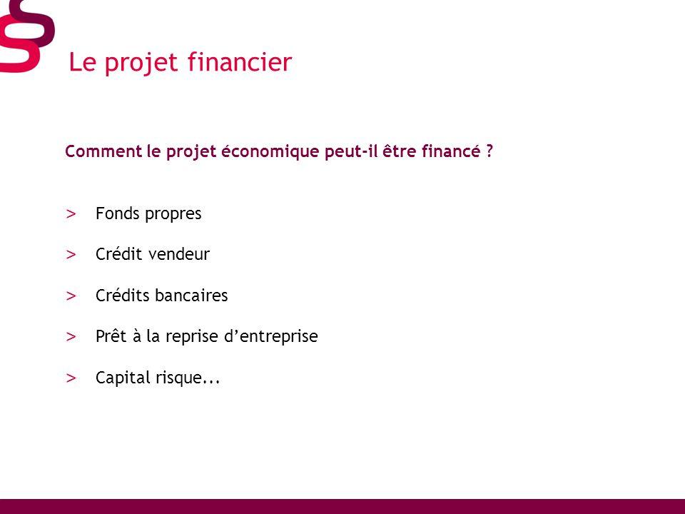 Le projet financier Comment le projet économique peut-il être financé ? > Fonds propres > Crédit vendeur > Crédits bancaires > Prêt à la reprise dentr