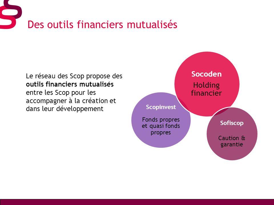 Des outils financiers mutualisés Le réseau des Scop propose des outils financiers mutualisés entre les Scop pour les accompagner à la création et dans