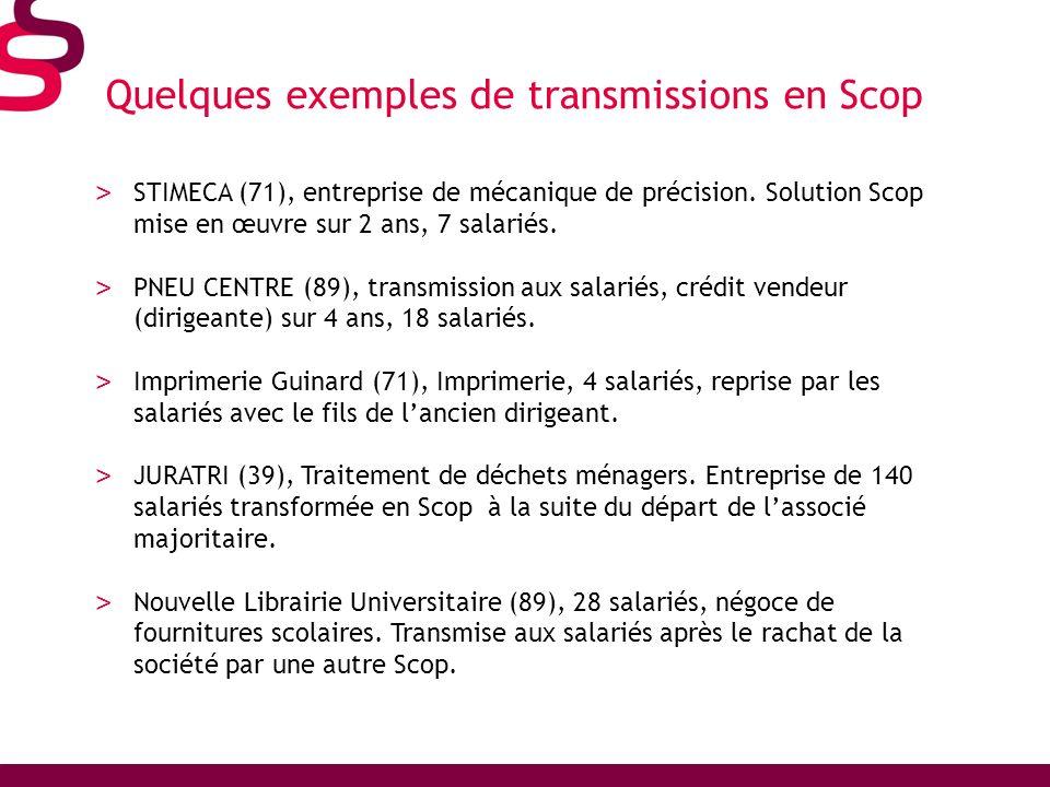 Quelques exemples de transmissions en Scop > STIMECA (71), entreprise de mécanique de précision. Solution Scop mise en œuvre sur 2 ans, 7 salariés. >