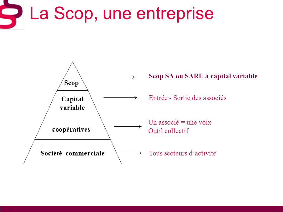 Un associé = une voix Outil collectif Tous secteurs dactivité Entrée - Sortie des associés Société commerciale coopératives Capital variable Scop La S