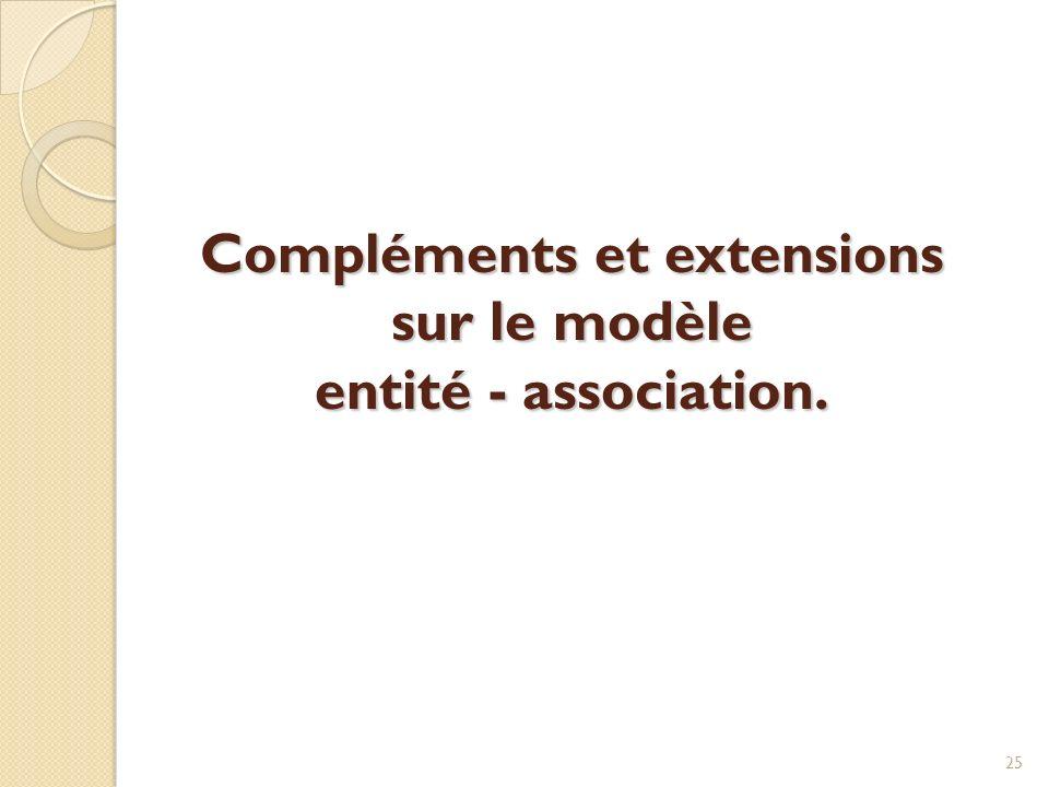 Compléments et extensions sur le modèle entité - association. 25