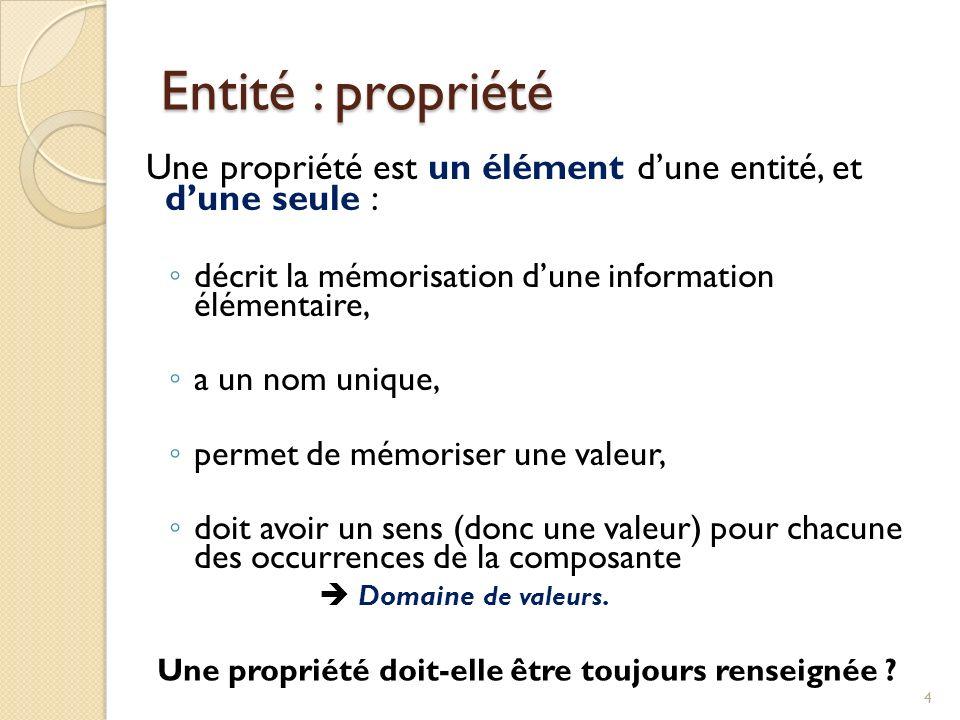 4 Une propriété est un élément dune entité, et dune seule : décrit la mémorisation dune information élémentaire, a un nom unique, permet de mémoriser une valeur, doit avoir un sens (donc une valeur) pour chacune des occurrences de la composante Domaine de valeurs.