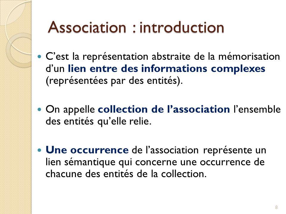 8 Cest la représentation abstraite de la mémorisation dun lien entre des informations complexes (représentées par des entités).