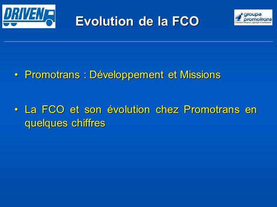Evolution de la FCO Promotrans : Développement et MissionsPromotrans : Développement et Missions La FCO et son évolution chez Promotrans en quelques c